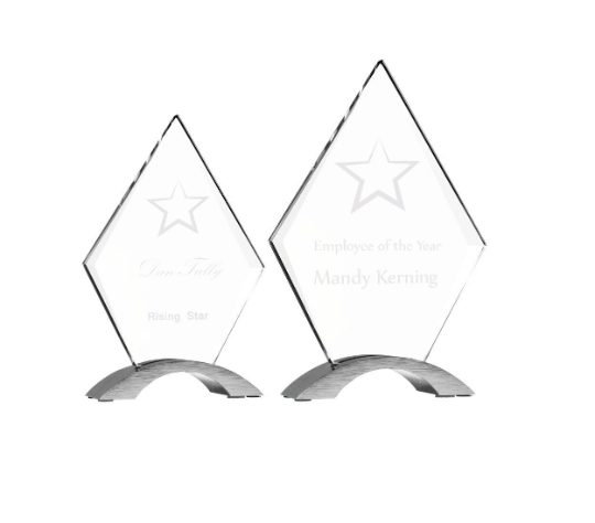 Diamond Cosmic Glass Award, Custom Engraved, Professional, Recognition Awa