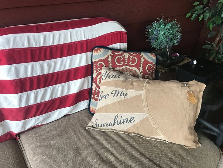 "Personalized Burlap ""Sunshine"" Pillow, Customized Pillow, Personalized Pillow"