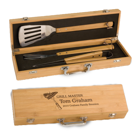 3 Piece BBQ Gift Set in Bamboo Box, Gifts for Him, Family Gifts
