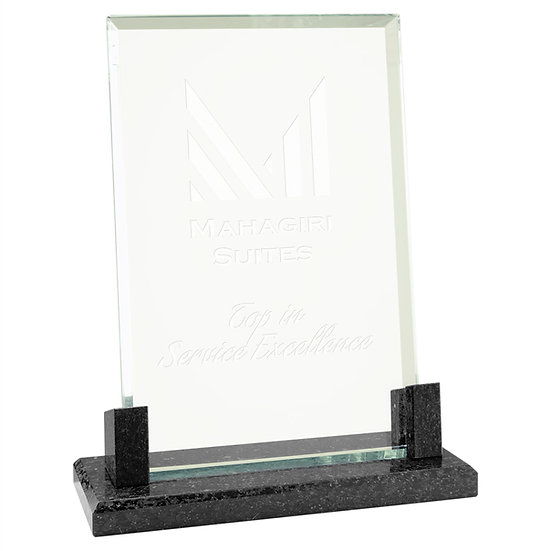 Personalized Rectangle Glass with Black Marble Award, Promotional Gifts