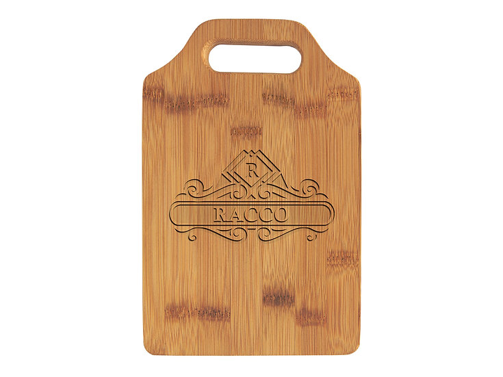 "Personalized 9"" x 6""  Bamboo Cutting Board with Handle, Custom Engraved"