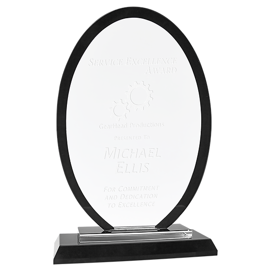 Regal Oval Glass Award, Personalized Engraved,  Promotional Gifts