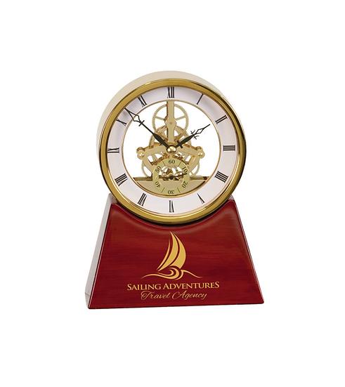 "Engraved 7 1/4"" Executive Rosewood Piano Finish Clock, Classic Awards"