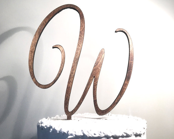 Letter W Wooden Wedding Cake Topper