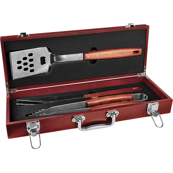 Personalized 3-Piece Rosewood BBQ Set, Engraved BBQ Utensils, Custom Set for BBQ