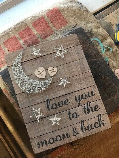 "Custom ""Love You to the Moon"" String Art"