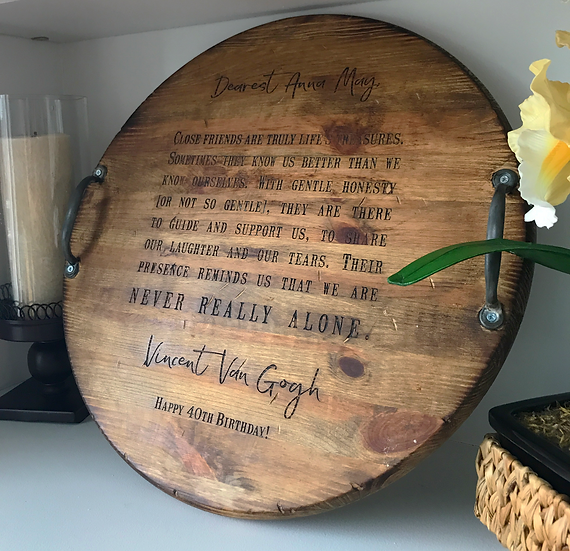 "18"" Personalized Wine Barrel Head Serving Tray, Customized Engraved Tray"