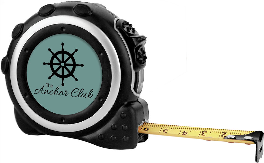 "Personalized 16-Foot Black & Silver Tape Measure with 1 1/2"" Insert Area"