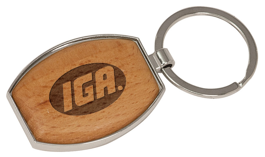 Personalized Silver and Wood Oval Keychain