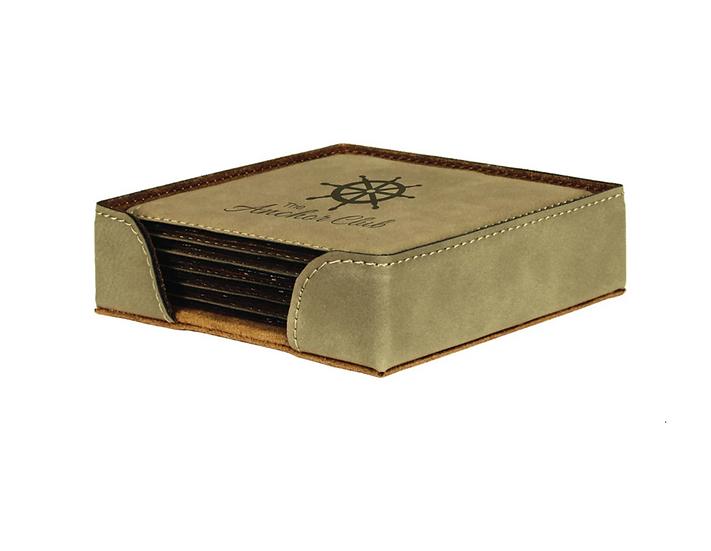 Personalized 6 Piece Leatherette Coaster Set