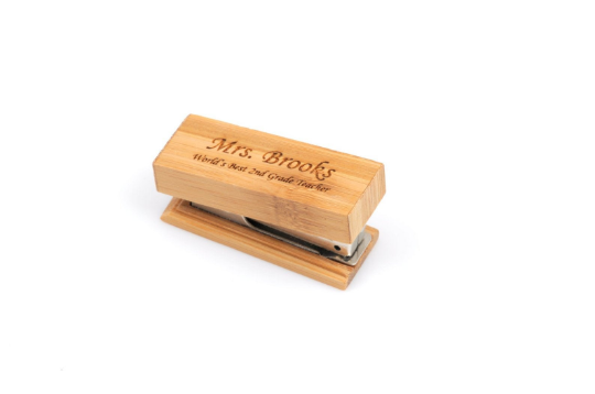 Tiny Personalized Bamboo Stapler, Custom Bamboo Stapler, Custom Wooden Stapler