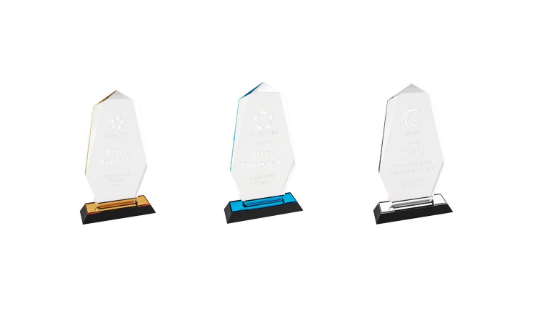 Set of 3 Octagonal Point Acrylic Awards, Promotional Awards, Trophies, Em