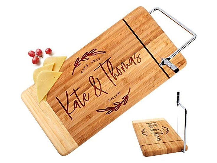 "Personalized 12"" x 6"" Bamboo Rectangle Cutting Board with Metal Cheese Cutter"