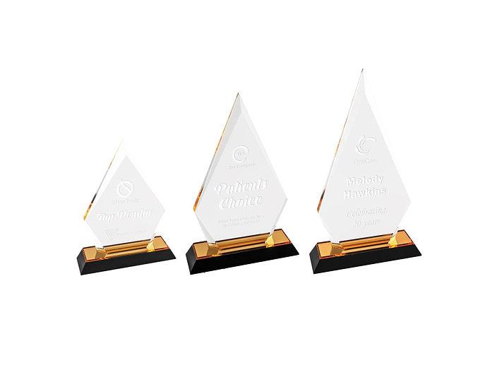 Set of 3 Diamond Point Acrylic Awards, Promotional Awards, Trophies, Em