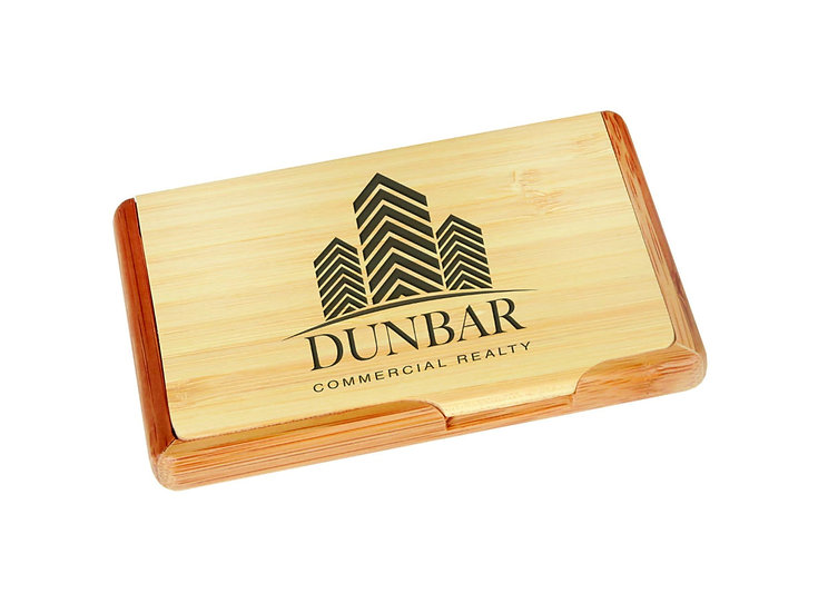 Bamboo Business Card Holder, Personalized Engraved, Promotional Wares