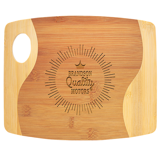 """9"""" x 11"""" x 5/16"""" Bamboo Two Tone Cutting Board with Handle, Personalized"""