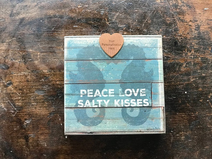 """Personalized """"Salty Kisses"""" Wall Hanging"""