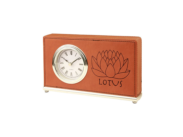 Custom Leatherette Desk Clock, Desk Accessories, House ware, Office Clock