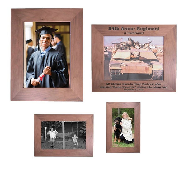 Custom Engraved Solid Walnut Picture Frame