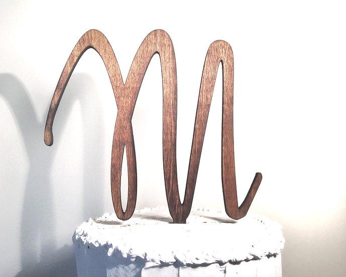 Letter M Wooden Wedding Cake Topper