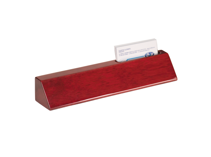 Rosewood Piano Finish Desk Wedge w/ Business Card Holder, Promotional Gifts
