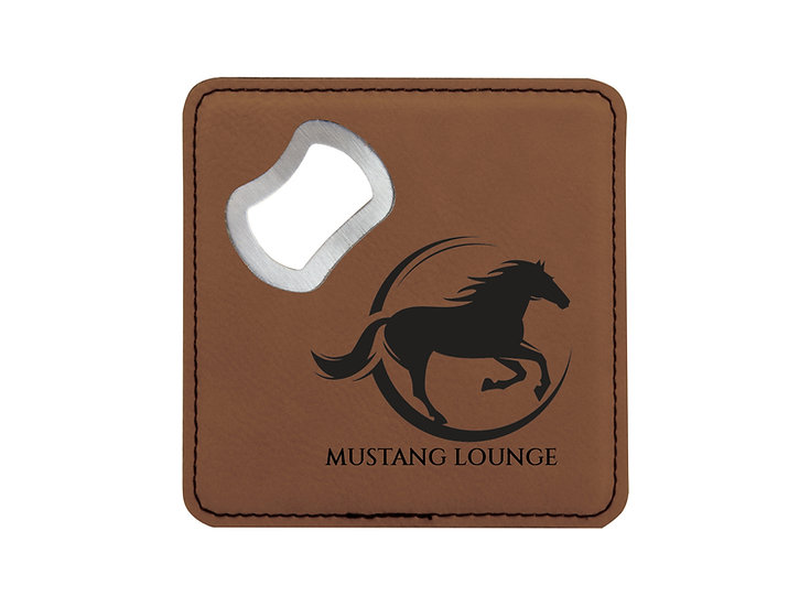 Square Leatherette Coaster with Bottle Opener, Housewares, Gifts for Him, Drinks