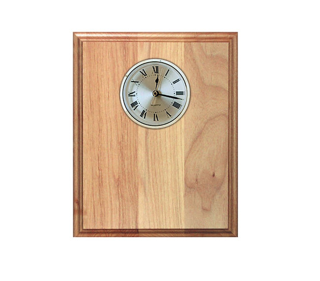 Engraved Wood Plaque with Clock, Classic Awards, House ware, Office Clock, Offic