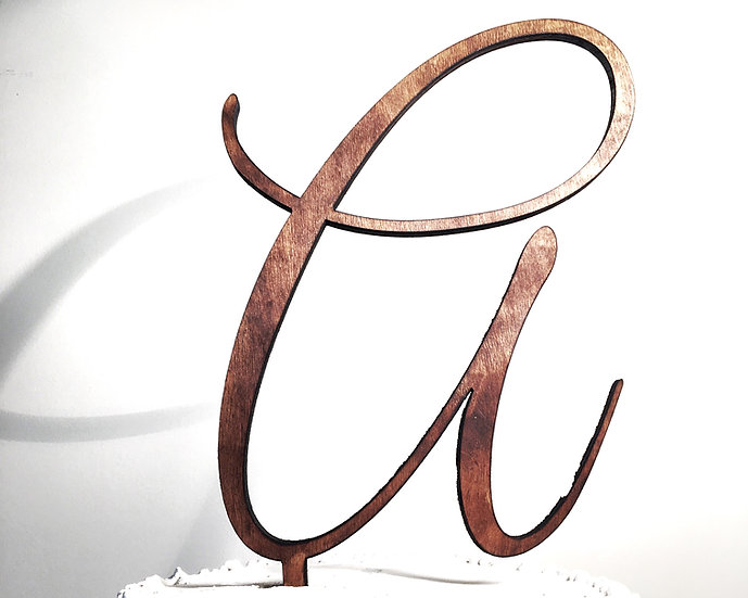 Letter A Wooden Wedding Cake Topper