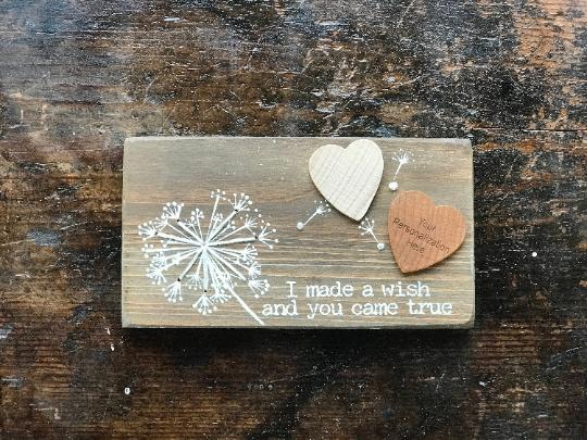 "Personalized ""Wish"" Stitched Block, Customized Stitched Block, Engraved Stitched"