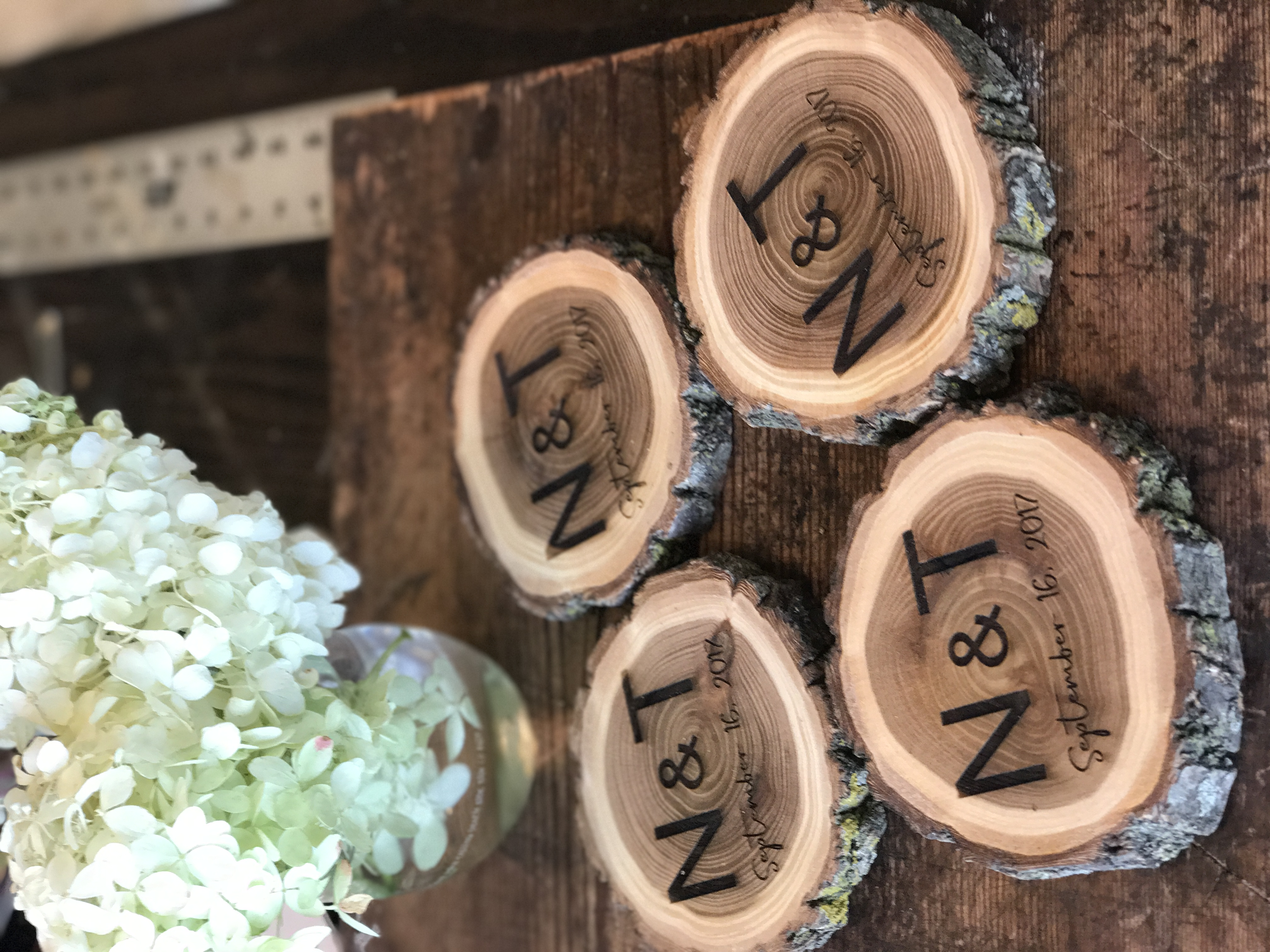 Custom Wood Slice Coasters