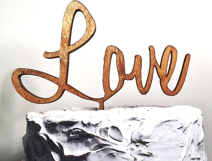 Rustic Wooden engraved LOVE Wedding Cake Topper
