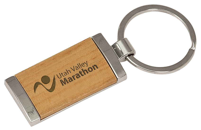 Silver and Wood Rectangle Key Chain, Personalized Engraved