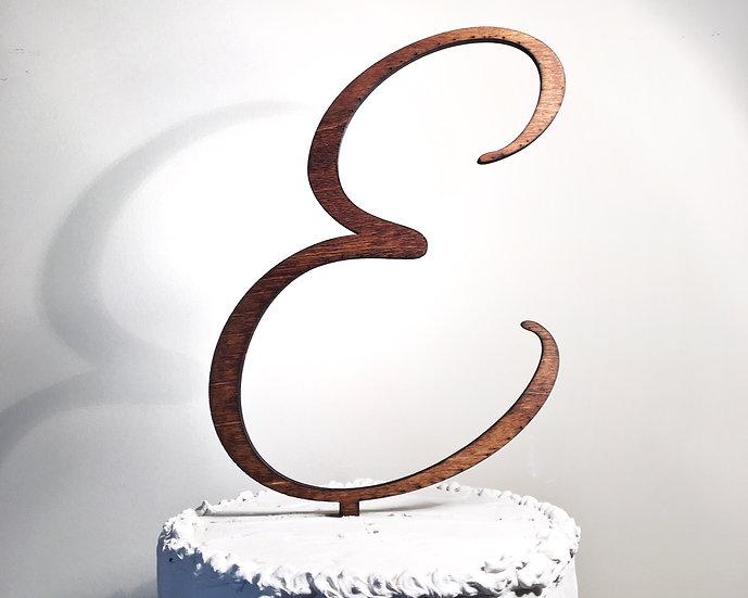 Letter E Wooden Wedding Cake Topper