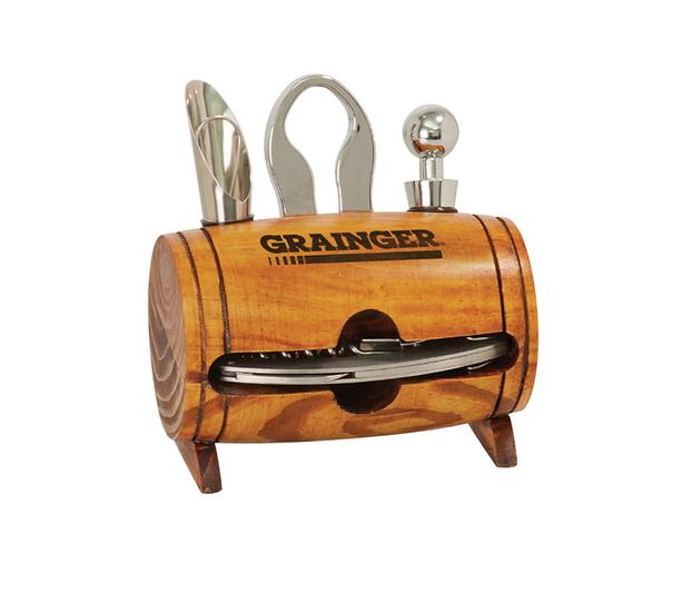4-Piece Wine Barrel Case, Wine Bottle Opener Kit, Wine Opener Set, Cork Screw