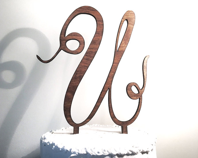 Letter U Wooden Wedding Cake Topper