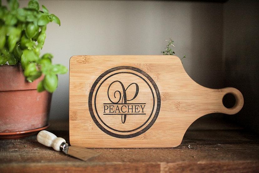 "Personalized 13.5""x7"" Bamboo Paddle Cutting Board, kitchen Wares, Housewarming"