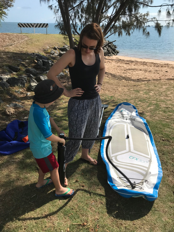 Inflatable paddle board - kayaking with kids