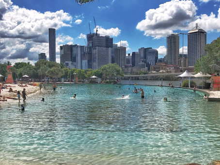 Southbank Beach in the middle of Brisbane