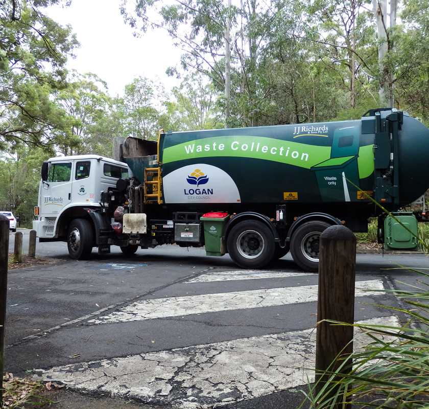 Logan City Council Rubbish Truck in the Springwood Conservation Park