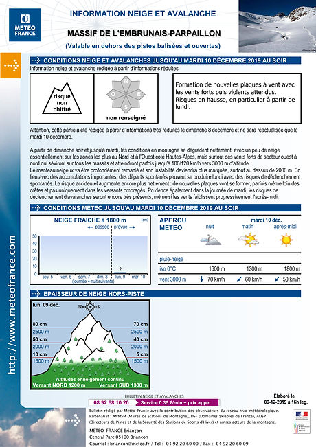 bulletin d'estimation du risque d'avalanche (BERA, BRA)