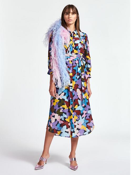 Essentiel Zenguina Bordeaux,Paarse en Blauwe zijde jurk Combo1