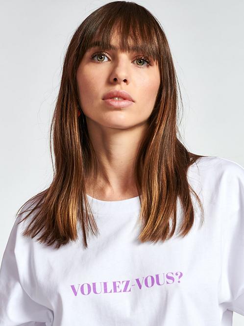 Essentiel Zyad T-shirt White/lila  Oversized Voulez Vous