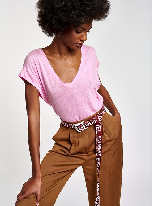 Essentiel Zinnia Linnen  T-Shirt Roze