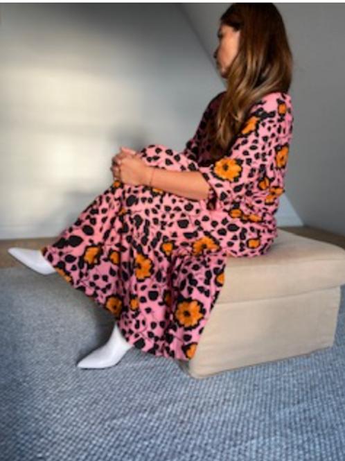 Ellen Dress Orange-Pink Flouwers