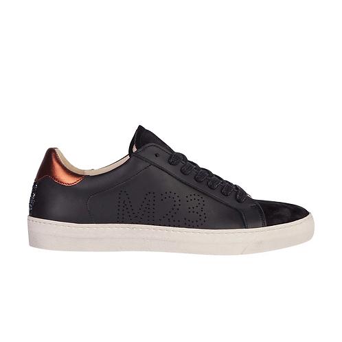 Star Sneaker Black Leather +Bronce Laminado
