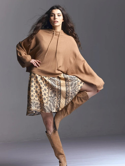 Wood Cashmere Hoody Camel