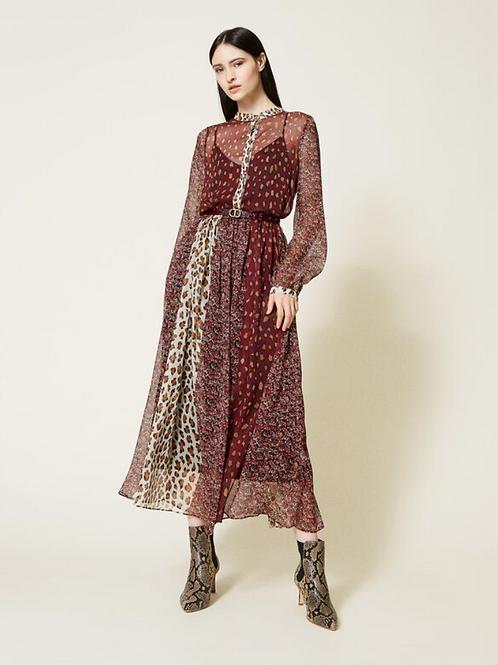 Long Creponne Dress With Belt 212TT2250