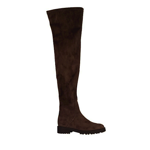 New Face Over the Knee Chocolat Suede Stretch