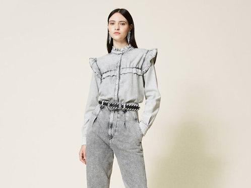 Twin-Set Denim Shirt With Ruffles Grey