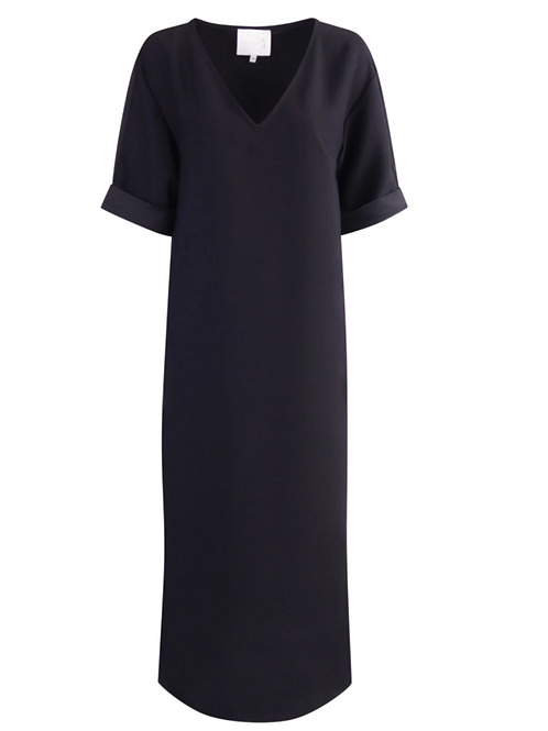 Dudley Crepe Satin Black Dress